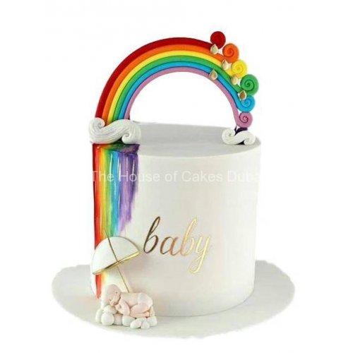 baby and rainbow cake 7