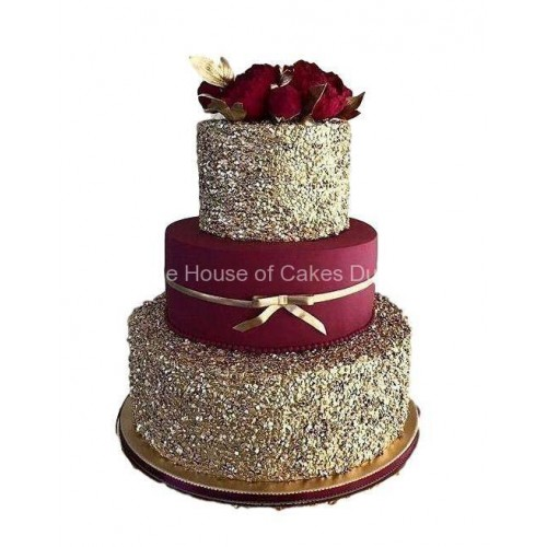 bordo red and gold sequins cake 7