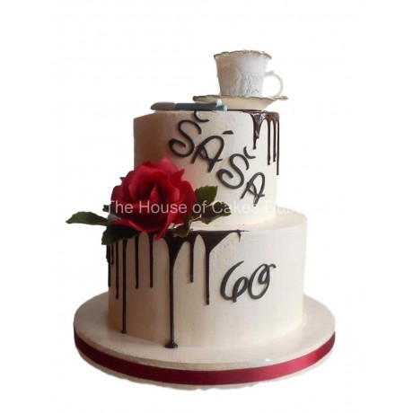 cream cake with coffee cup 6
