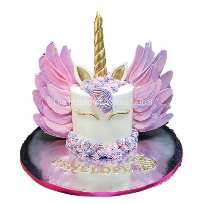 Unicorn cake with chocolate wings