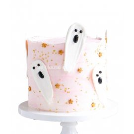 Chocolate brushstroke ghosts cake