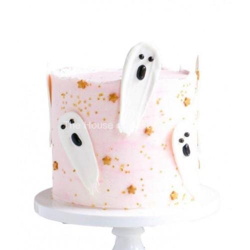 chocolate brushstroke ghosts cake 7