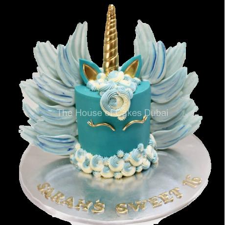 Blue unicorn cake with chocolate wings