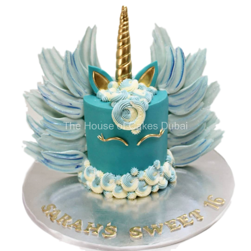 Blue unicorn cake with chocolate wings