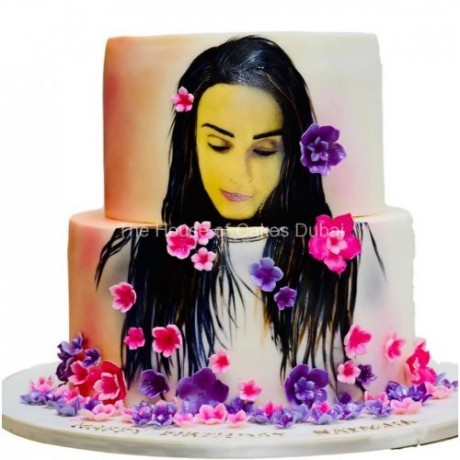 cake with face drawing and flowers 6