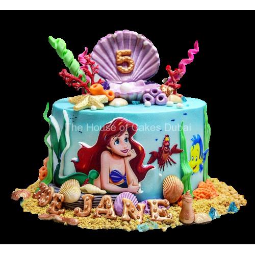 Marvelous Ariel Mermaid Cake 22 Personalised Birthday Cards Paralily Jamesorg