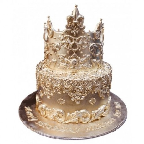 gold cake with crown 2 6