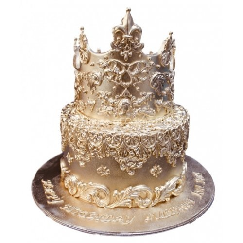 gold cake with crown 2 7