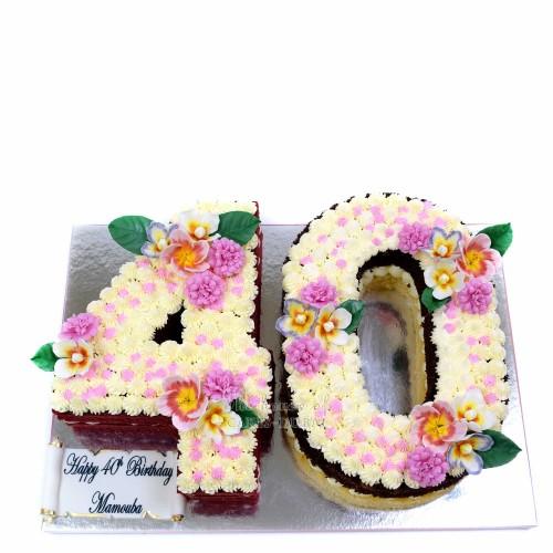 Double figure 40th birthday cake