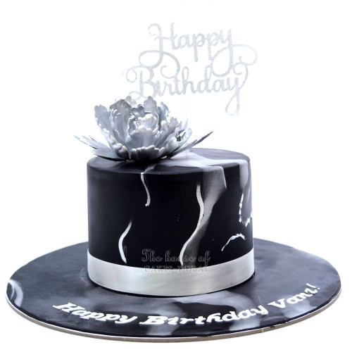 Black and silver marble cake