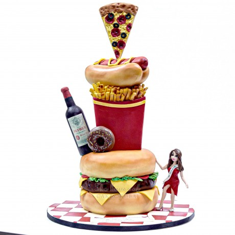 fast food and wine cake with burger, fries, pizza, doughnut and hot dog 12