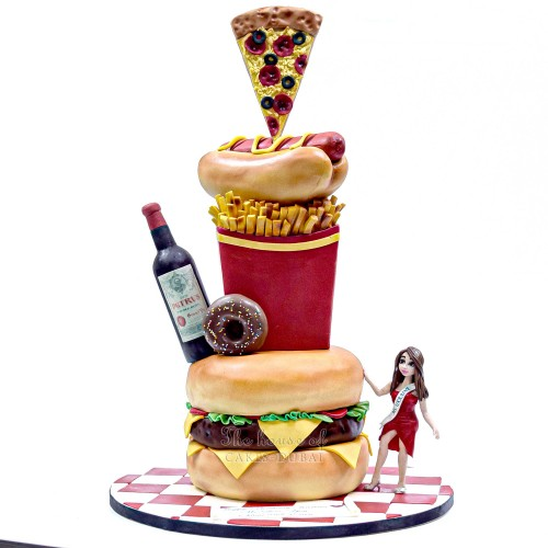 fast food and wine cake with burger, fries, pizza, doughnut and hot dog 13