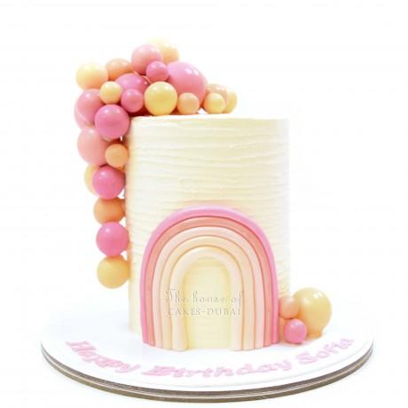 pastel rainbow and balloons cake 12