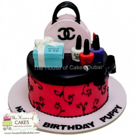 chanel,tiffany and make up cake 6
