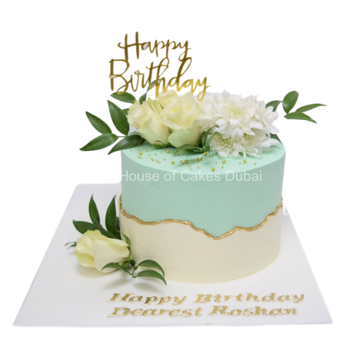 Astounding Happy Birthday Cake With Flowers Personalised Birthday Cards Cominlily Jamesorg