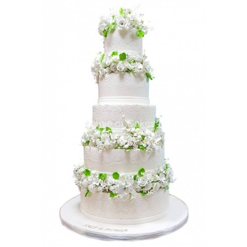 5 tier wedding cake white and green 7