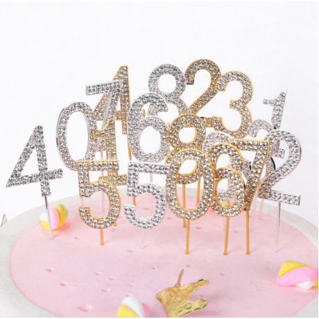 """1PC Number """"0-9"""" Cake Topper Gold Diamond-studded Cake Topper for Dessert Anniversary Birthday Party Decoration Wedding Supplies"""