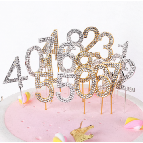 "1PC Number ""0-9"" Cake Topper Gold Diamond-studded Cake Topper for Dessert Anniversary Birthday Party Decoration Wedding Supplies"
