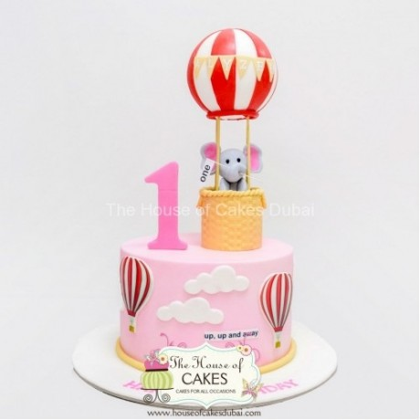 birthday cake with elephant and balloon - pink 6