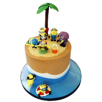 Minions pool party cake