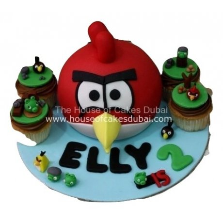 Angry bird cake and cupcakes