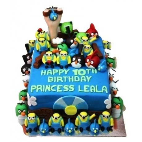 angry birds and minions cake 6