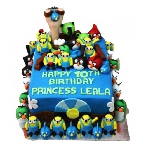 angry birds and minions cake 7