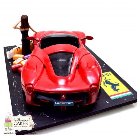 Ferrari Car, lady and shopping bags cake