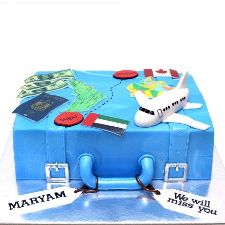 World map suitcase cake