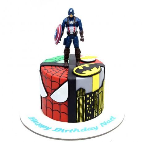 superheroes and captain america cake 6