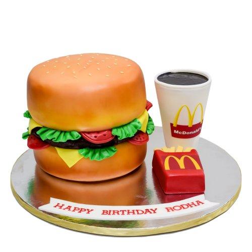 McDonald's Burger fries and cola cake