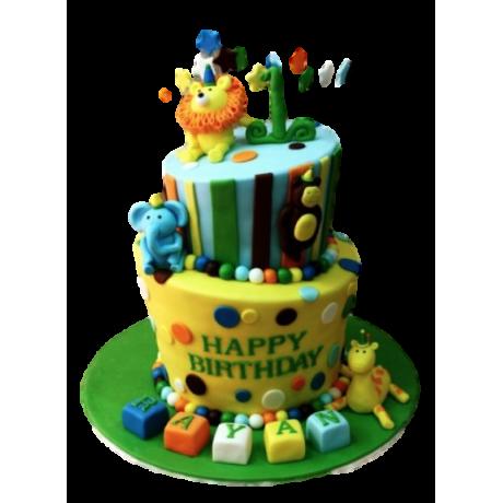 cute jungle animals cake 6