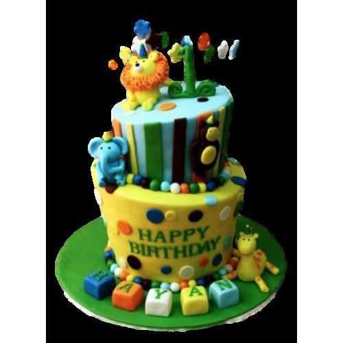 cute jungle animals cake 9