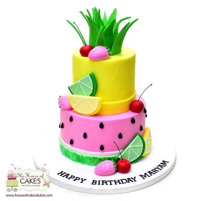 Summer fruits theme cake