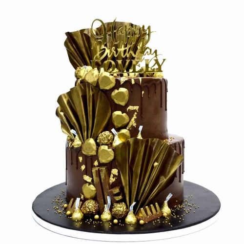chocolate fantasy cake with gold and pink gold accents 8