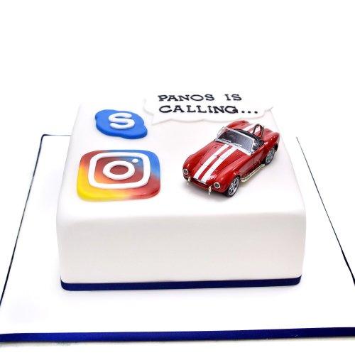 Car, Skype and Instagram Cake