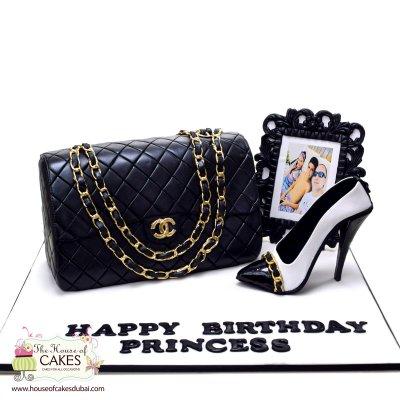 Chanel bag and shoe cake 1