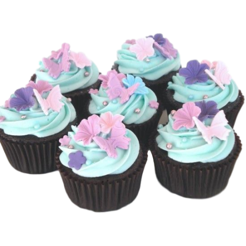 Colourful cupcakes with flowers and butterflies