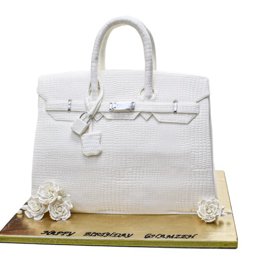 Hermes bag cake - white