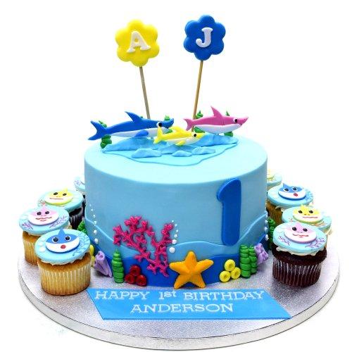 Baby shark cake and cupcakes