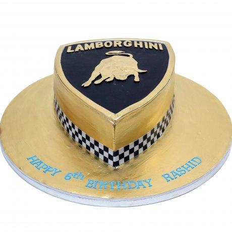 gold lamborghini cake 6