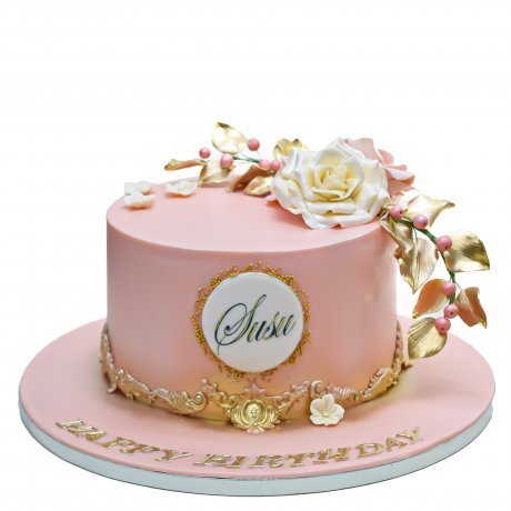 peach cake with name and white rose 6