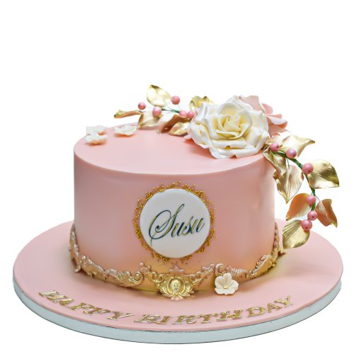 Peach cake with name and white rose