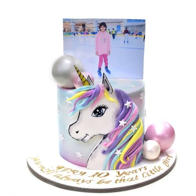 Unicorn Cake with photo on top