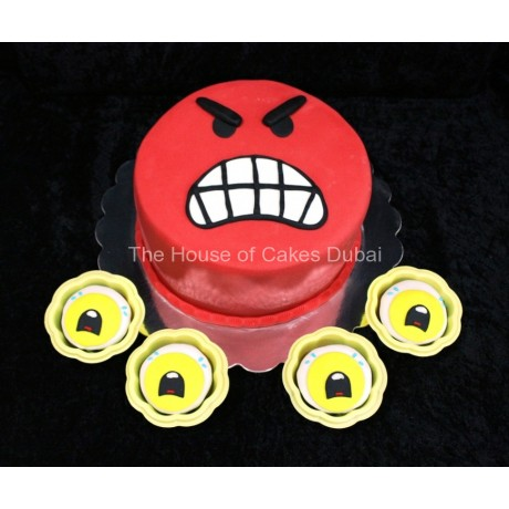 Angry Face Cake and cupcakes