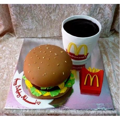 McDonald's burger meal cake