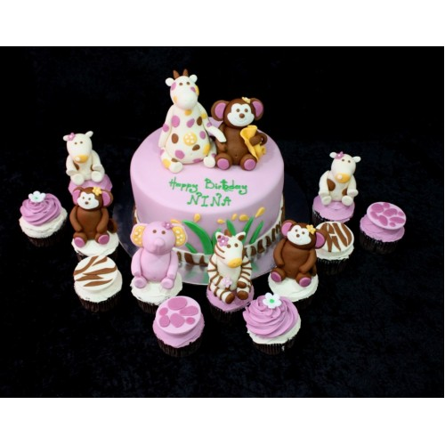 Animals cake and cupcakes