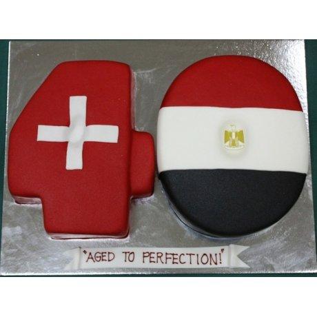 40th Birthday Flags Cake