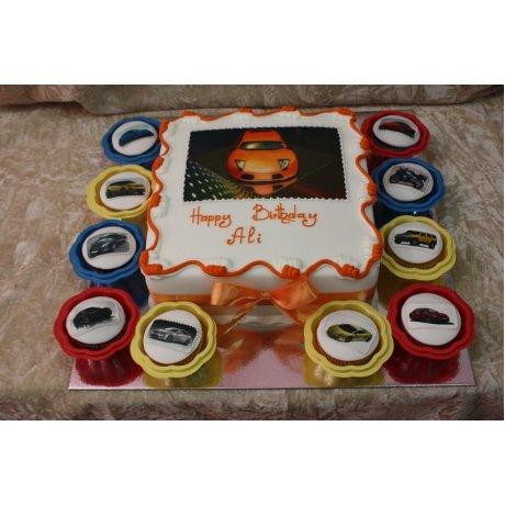 Lamborghini cake and cupcakes