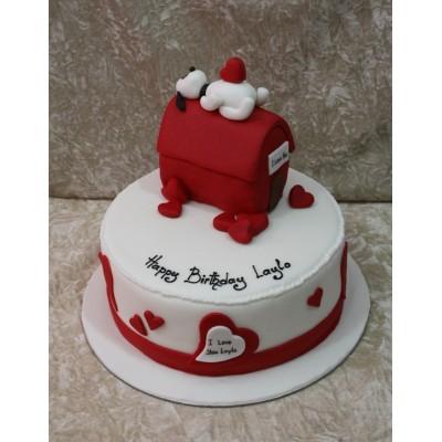 Romantic cake with dog